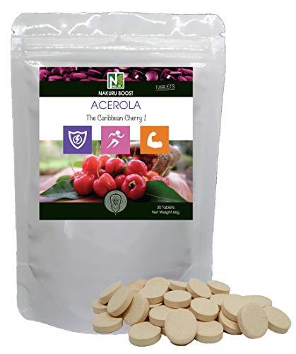 Acerola / 30 Tabletten van 2.2g /NAKURU Boost/Gedroogd en koudgecomprimeerd poeder/Analyse en verpakking in Frankrijk/De Cerise van de Antillen!