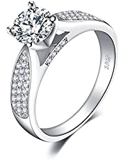 JewelryPalace 1.2ct Kubieke Zirkonia Anniversary Solitaire Verlovingsring 925 Sterling Zilver