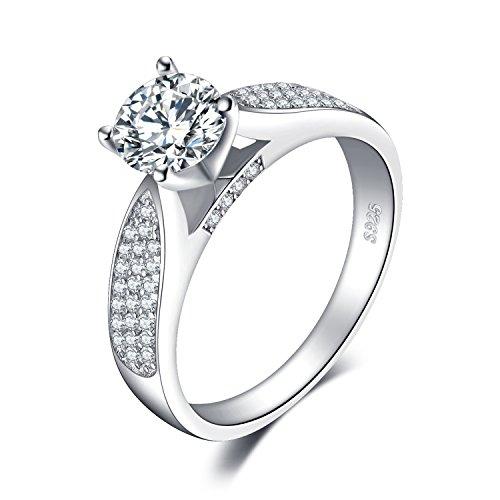 JewelryPalace Anillos Mujer Plata Diamante Simulado, Anillos de Compromiso Plata de ley 925 Mujer Chapado en Oro Blanco, Anillo Mujer Alianzas Boda, Aniversario, Joyería Personalizada