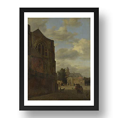 Period Prints Kunstdruck Jan van der Heyden An Imaginary View of Nijenrode Castle, Vintage-Kunst, A3, 17 x 13 cm, schwarzer Rahmen