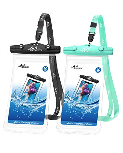 MoKo Waterproof Cellphone Pouch, [2 Pack] Underwater Phone Case Dry Bag with Lanyard Compatible withiPhone 12/iPhone 12 Mini/iPhone 12 Pro/iPhone 12 Pro max/11/11 Pro/11 Pro MAX, Black+Green