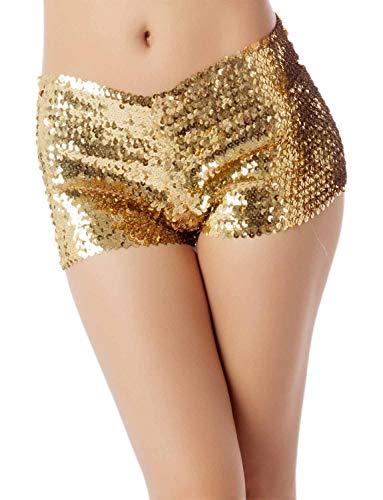 iB-iP Damen Paillett Dehnbar Hüftformung Unterwäsche Niedrige Taille Boy Shorts, Größe: 36, Gold