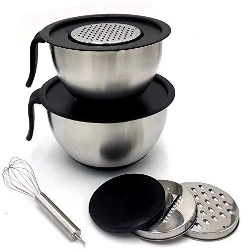 Roestvrij stalen kookgerei 2 stuks/set roestvrij staal mengkom DIY cake salade mixer opslag bowls gripvaste siliconenbasis professioneel keukengereedschap