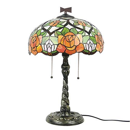 Lámpara de mesa redonda de flor de rosa 16 pulgadas luces de escritorio en estilo tiffany sala de estar dormitorio decoración lámpara de cocina hotel con interruptor de cremallera zócalo de aleación