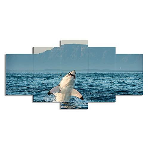 ChuangYing 5 Lienzo Arte Pared Pegatina tiburón Marina Presa Pintura Pared Pared Decorativo Moderno en la habitación engomada