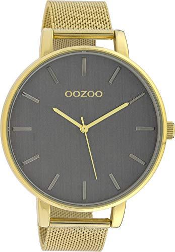 Oozoo Herrenuhr mit Milanaise Edelstahlband 48 MM Goldfarben/Silbergrau C10219
