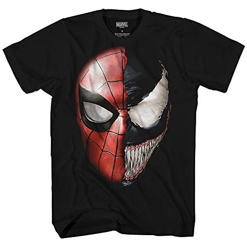 Venom Spidey Faces Spiderman Avengers Villain Comic Book Men's Graphic T-Shirt (Black, Large)