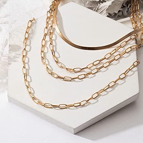 collarNuevo Collar Gargantilla de Cadena Dorada Vintage para Mujer, Collar de Cadena Multicapa de Metal a la Moda, joyería de Tendencia Femenina para Hombre