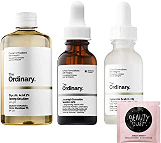 The Ordinary Face Serum Set! Ascorbic Acid 8%+Alpha Arbutin 2%! Hyaluronic Acid 2%+B5! Glycolic Acid 7% Toning Solution! Help Fight Visible Blemishes And Improved Skin Radiance! Includes Beauty Dust!