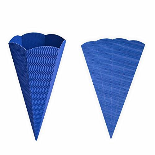 Geschwister Schultüte 1 Stück blau aus 3D Wellpappe 41cm - Zuckertüte als Rohling zum basteln, bemalen und bekleben