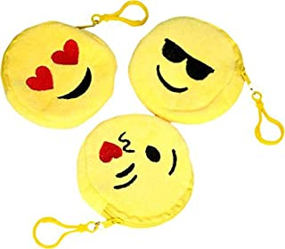 Tickles Girl's Kid's Yellow Fabric Smiley Kiss Cool and Love Coin Purse Pocket Pouch, Set of 3