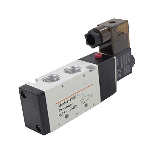 FMingNian 1pc 4V310-10 DC 12V Magnetventil 5 Port 2 Position Pneumatik-Proportionalventil PT3 / 8 Aluminiumlegierung Luftventil