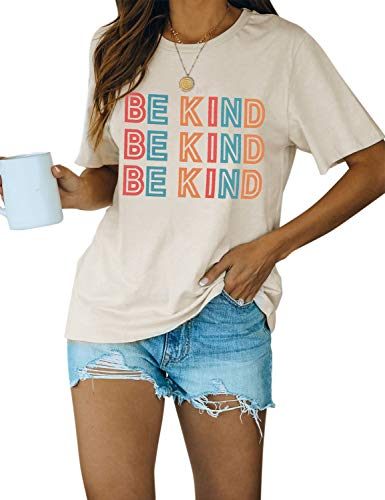 Blooming Jelly Women's Cute Short Sleeve Top Letter Print Crewneck Graphic Casual Basic T Shirts(Beige,L)