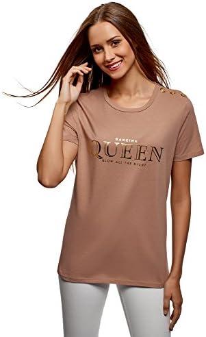 oodji Ultra Mujer Camiseta Recta con Botones Decorativos