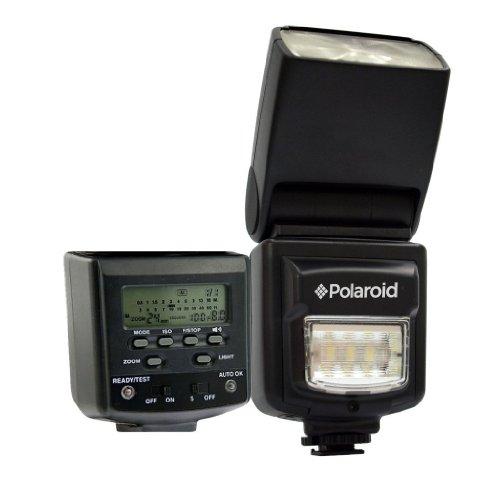 Flash « Dua » à sabot TTL numérique, mise au point automatique et zoom par Polaroid Studio Series, avec écran LCD + Éclairage vidéo LED intégré pour reflex numériques Nikon D40, D40x, D50, D60, D70, D80, D90, D100, D200, D300, D3, D3S, D700, D3000, D5000, D3100, D3200, D7000, D5100, D4, D800, D800E, D600, P7700, P7100