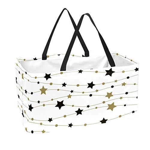 La bolsa de asas reutilizable del supermercado, la cesta de la compra grande, el modelo inconsútil del bolso del almacenamiento 50L con las estrellas
