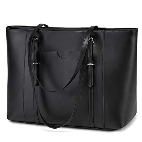 Laptop Tote Bag for Women, Vaschy PU Leather Water Resistant Handbag for Travel, Work, School Teacher Shoulder Bag Fits 15.6 inch Laptop (Black)