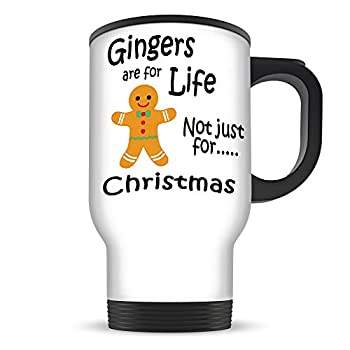 Gingers Are For Life Travel Mug, 14oz with Lid, white and black