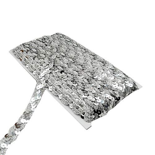 Yalulu 10 Meter Glänzendes Geflochten Zierband Paillettenband Glitzer Borte aus Dekoband Zierband Geschenkband Bortenband Kordelband Nähen DIY Handwerk Bastelprojekte (Silber)
