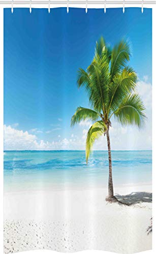 ABAKUHAUS Landschaft Schmaler Duschvorhang, Meer Ozean Palmen, Badezimmer Deko Set aus Stoff mit Haken, 120 x 180 cm, Himmelblau Weiß & Grün