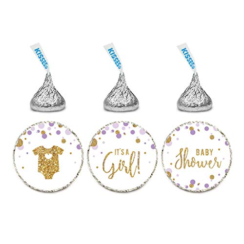 Andaz Press Lavender Purple Gold Glitter Girl Baby Shower Party Collection, Chocolate Drop Label Stickers Trio, 216-Pack, Fits Kisses Party Favors