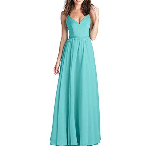 A-Linie - Abito lungo da sera, da donna, estivo, in chiffon, con scollo a V, abito lungo Tiffany. 46