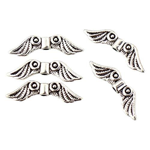 N/A/ 50 piezas de cuentas de metal para joyería de bricolaje con forma de alas de ángel, pulseras y collares, accesorios para hacer abalorios, espaciador de alas de ángel