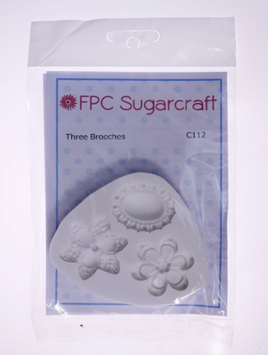 Three Brooches - Silicone Icing Mould for Cake and Cupcake Decoration by FPC