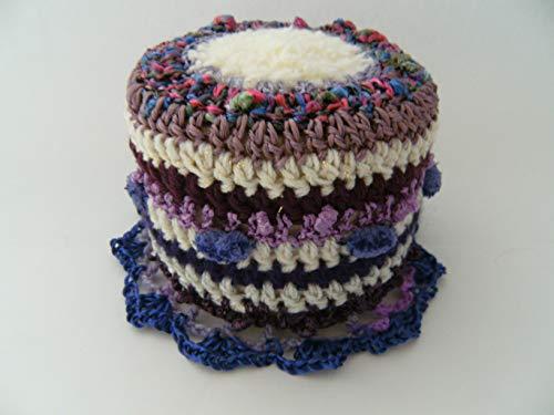 Storchenlädchen Klohut, lila Töne Klohüte Klopapierhut Klopapierhüte Toilettenpapierhut Toilettenpapierhüte