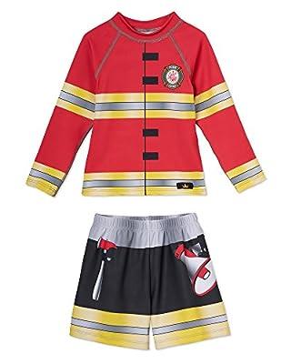 Little Boys Swim Trunks and Swimsuit Set ? Adorable Fireman Costume Design? Long Sleeve Rashguard Set ? UPF 50 Sun Protection ? Won?t Fade ? Made In USA ? Size 2T, 3T, 4T, 5/6, 7/8