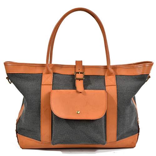 Rcsinway Large Capacity Handbag Tote Bag Canvas Handbag Big Bag Shopping Bag Bag Portable Contrast Color Shoulder Messenger Bag (Color : Light Green)