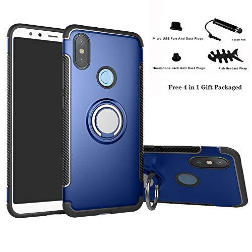 Labanema Xiaomi Mi A2 / Mi 6X Funda, 360 Rotating Ring Grip Stand Holder Capa TPU + PC Shockproof Anti-rasguños teléfono Caso protección Cáscara Cover para Xiaomi Mi A2 / Mi 6X - Azul