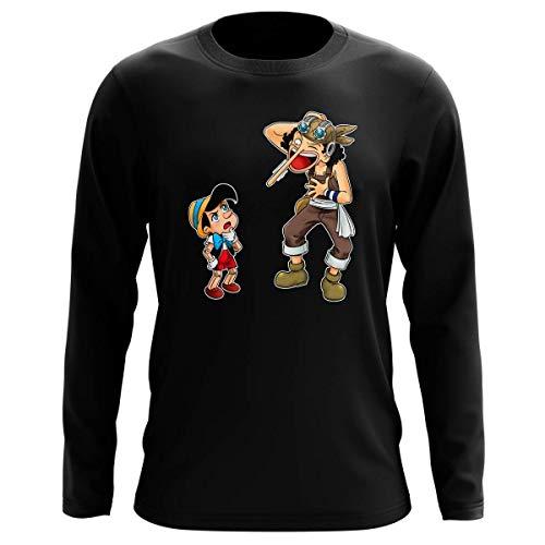 T-Shirt Manches Longues Noir Parodie One Piece - Usopp - Traduction (T-Shirt de qualité Premium de Taille M - imprimé en France)