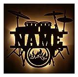 Schlummerlicht24 Led Drums Schlagzeug mit Name, Geschenke