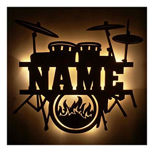 Schlummerlicht24 Led Drums Schlagzeug mit Name, Geschenke für Schlagzeuger und Musiker, als Deko-Lampe Zimmer oder Musikschule