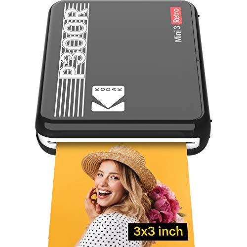 Kodak Mini 3 Stampante portatile per Smartphone, Foto istantanee formato quadrato 76x76 mm, Bluetooth e Wireless - Nera