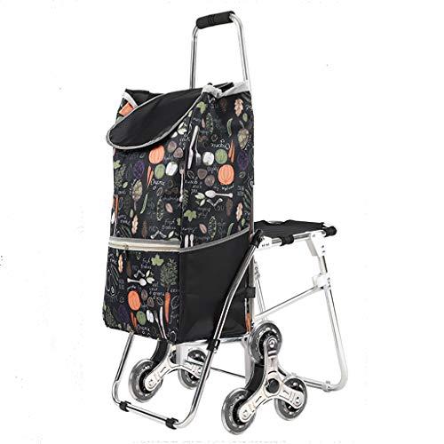 Einkaufstrolleys Faltbare Einkaufswagen mit Sitz, leichte Aluminium-Klappwagen, Mehrzweckgepäckwagen mit Rädern, Klappeinkaufswagen mit wasserdichtem Futter (Color : B)