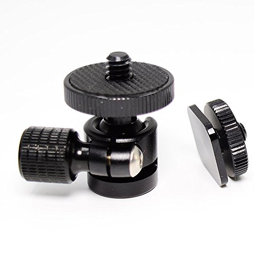 koolehaoda 1/4 Mini BallHead & Hot Shoe Mount Adapter for Camera Video Light Tripod Monopod (1/4 Ball Head)