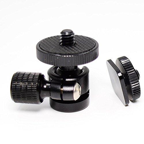 koolehaoda 1/4 Trípode de cabeza esférica de cámara esférica súper pequeña con adaptador de zapata para cámara DSLR (cabeza esférica de 1/4)