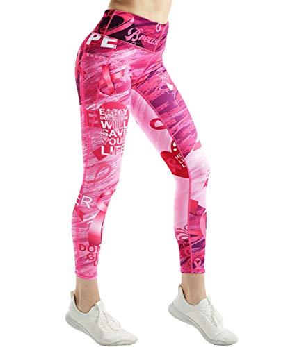 COOLOMG Sport Damen Leggings Yoga Hose Sporthose Fitnesshose Laufhose lang mit Taschen Rosa S