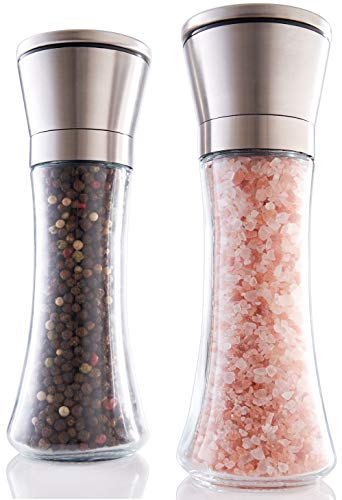 Gorgeous Salt And Pepper Grinder Set - Refillable Stainless Steel Shakers With Adjustable Coarse Mills - Enjoy Your Favorite Spices, Fresh Ground Pepper, Himalayan Or Sea Salts