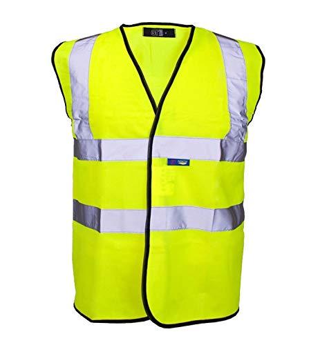 Hi Vis Viz Gilet sicurezza Gilet Alta Visibilità Riflettente Giallo Fluorescente
