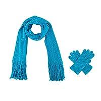 レディースニットスカーフ&グローブセットカシミヤフィールケーブルデザインとタッチスクリーン機能 誰がすべてを持っているクールプレゼントティーン (Color : Blue Jewel, Size : One Size)
