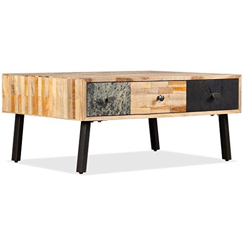 Festnight Table Basse Vintage en Teck de Récupération Massif 90 x 65 x 40 cm