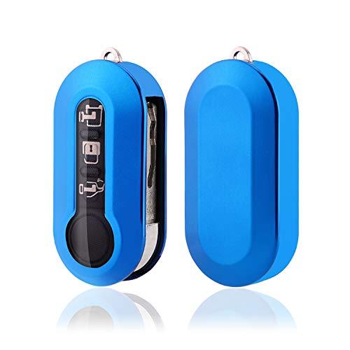 SHAOHAO Funda para llave de coche para Fiat 500, 500L, 500E y 500C, de silicona TPU (azul)