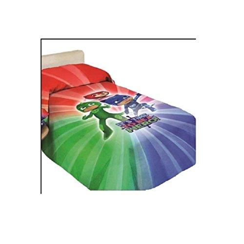 PJ Masks 9638519R611 Copriletto Stampato, 100% Cotone, Rosso/Vede/Blu, 80 x 190 cm