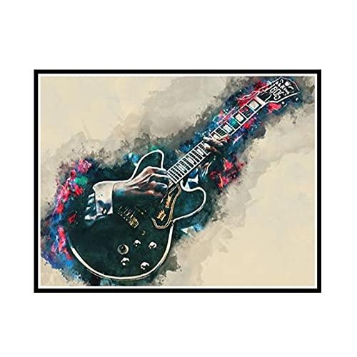 Yoopa Cuadro de guitarra King decoración del hogar pintura en lienzo carteles artísticos de pared e impresión decoración del hogar-50X75 cm sin marco 1 pieza
