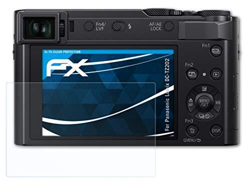 atFoliX Schutzfolie kompatibel mit Panasonic Lumix DC-TZ202 Folie, ultraklare FX Bildschirmschutzfolie (3X)