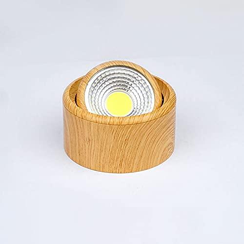 MRFX Spotlight, Downlight montado en la superficie ultrafino chino, luz de madera de madera LED, luz de techo sin apertura, foco de grano de madera de techo regulable 5W (Color : 5w)