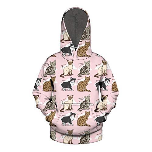 Sweatshirt for Boy Half Dome Long Sleeve Cats Breeds Siamese Amerkan Manx Bengal Cat Kangaroo Pocket Sports